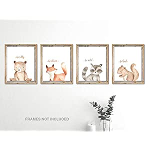 Woodland Nursery Wall Decor Art – 8×10 Unframed Set of 4 Prints – Forest Creatures Boy Girl Watercolor Quotes Animal Artwork Posters – Bear Fox Raccoon Squirrel