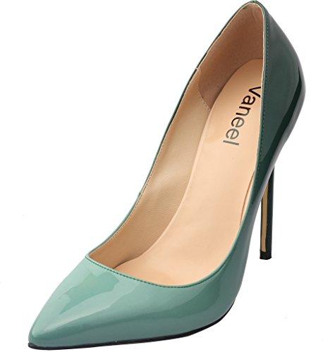 12CM Spillo Tacco Tacco Donna verde Vaaloe Calzature col su Gradiente Scarpe A Vaneel Scivolare qXf1Ew6