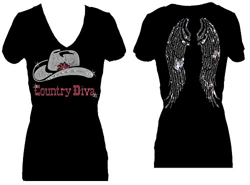 Rhinestone Diva T-shirt - Rockeroo Boutique Country Diva Rhinestone Womens V Neck Tee Shirts (1x-with Wings)