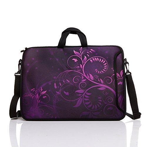 "Hot 17-Inch to 17.3-Inch Neoprene Laptop Shoulder Messenger Bag Case Sleeve For 16 16.5 17 17.3"" Inch Acer/Asus/Dell/Lenovo/HP/Macbook (Purple Flower)"