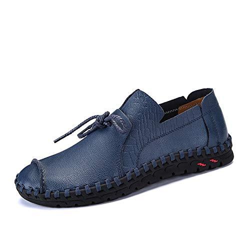 casual ZHRUI Nero Slip suola Blu fatti Morbida mocassini mano 41 uomo scarpe Dimensione in per EU a pelle on vera Colore guida rxTxw