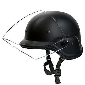 Tactical Airsoft M88 PASGT Kelver Swat Helmet Motorcycle Helmet with Clear Visor Black