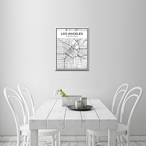 DINGDONGART Framed Canvas Wall Art Los Angeles Linear City Map Painting Nordic Minimalist Style Poster Aerial View Artwork Picture for Living Room Decor 1 Pcs
