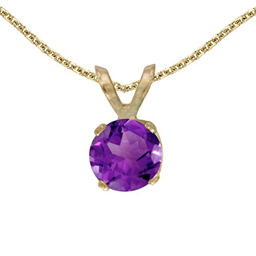 FB Jewels Solid 14k Yellow Gold Genuine Birthstone Round Amethyst Pendant (2/5 ()