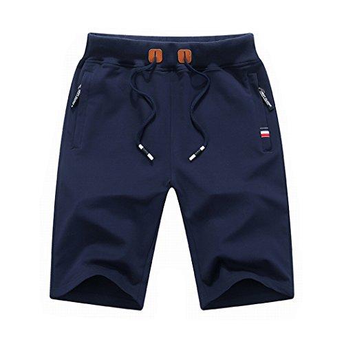 ICOOLYI Men's Casual&Sport Cotton Elastic Drawstring Shorts M16 (Small, Navy Blue)