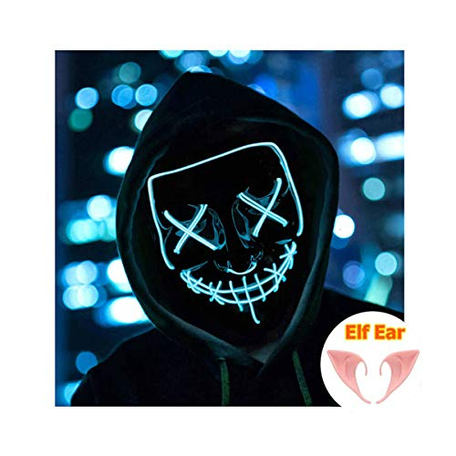 Halloween Mask Light up Mask Cosplay LED Mask Frightening Purge Mask for Festival Cosplay Halloween Parties Costume (Ice Blue)]()
