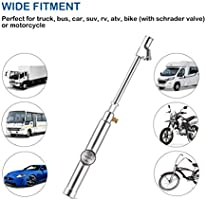 10-120PSI Straight on Foot Dual Head Truck Air Gage Accurate Mechanical Dually Chuck Wheel Gage Tester with Magnifying Bubble Lens for Car RV Van ATV Motorcycle Bike CZC AUTO Tire Pressure Gauge