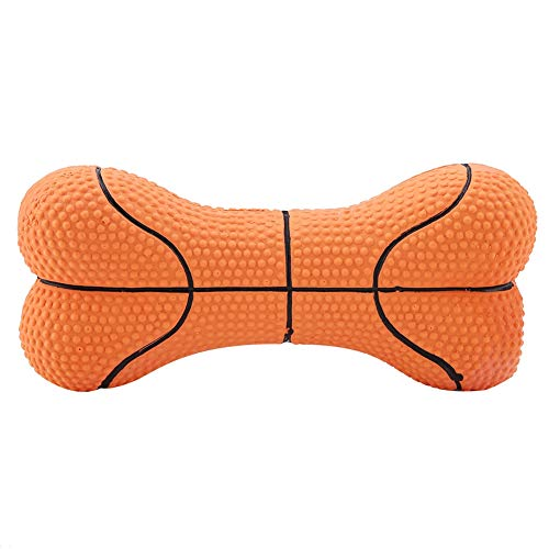 Fdit Pet Dog Toy Bite-Resistant Squeeze Natural Latex Bone Puppy Chew Toys Teeth Cleaning(Basketball) ()