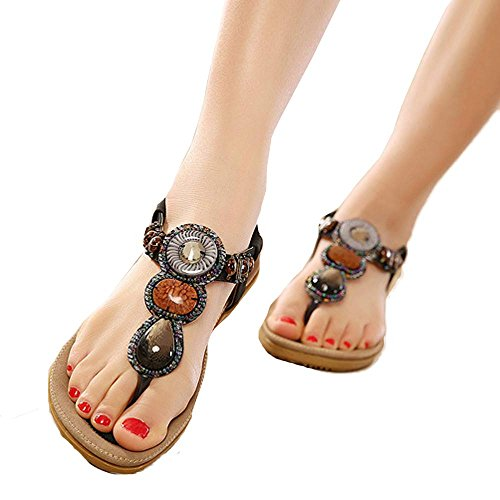 MILIMIEYIK Sandals for Girls, Women's Bohemia Flip Flops Summer Beach T-Strap Flat Comfort Walking Shoes Slippers Shoeses -