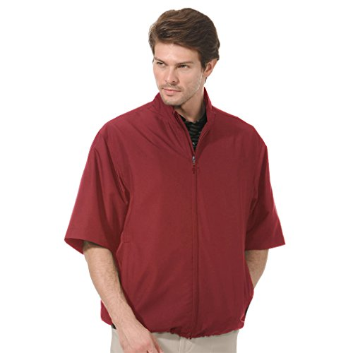 Monterey Club Mens Lightweight Microfiber Half Sleeve Zip Front Windshirt #1793 (Caledonia Red, Large) ()