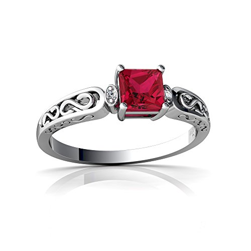 14kt White Gold Lab Ruby and Diamond 4mm Square filligree Scroll Ring - Size 5.5 ()