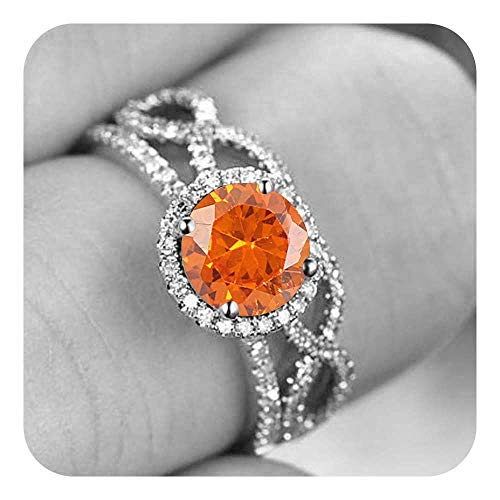 tusakha Round Cut Created Orange Sapphire & White Diamond .925 Sterling Silver Wedding Infinity Bridal Ring Set for Women's -