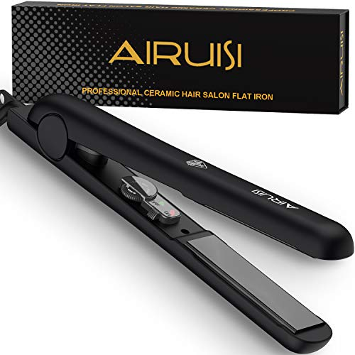 AIRUISI Ceramic Flat Iron For Hair, Professional Hair Straightener and Curler 2 in 1, 140 F 450 F Adjustable for All Hair Types, Safety Lock Dual Voltage Perfect for Travel, 1 inch Ceramic Plates.