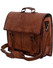 4950e7a591 PL 18 Inch Vintage Handmade Leather Messenger Bag for Laptop Briefcase  Satchel Bag