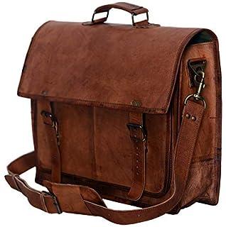 f922d7f7719 PL 18 Inch Vintage Handmade Leather Messenger Bag for Laptop Briefcase  Satchel Bag