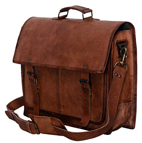 (PL 18 Inch Vintage Handmade Leather Messenger Bag for Laptop Briefcase Satchel Bag)