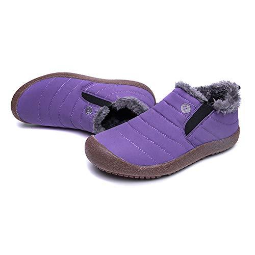 Snow Shoes Winter Lined Slip Women Low Men Ankle Outdoor Boots Slip purple top On Unsex Mdurian Anti Fur Waterproof Warm ZFzqv