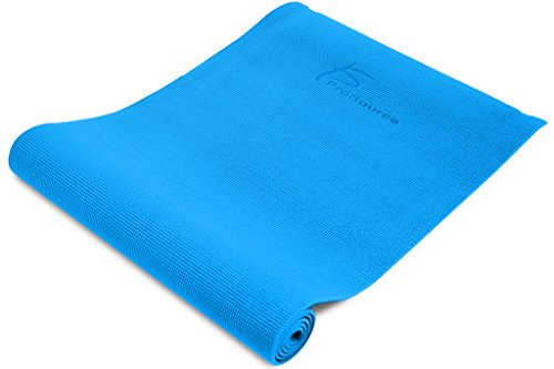 ProSource Premium 1/4 Thick High Density Exercise Yoga Mat with Comfort PVC Foam and Carrying Straps, Aqua