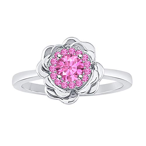 (RUDRAFASHION Womens Fashion 14K White Gold Plated Pink Sapphire Cluster Flower Ring)
