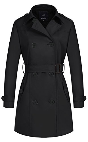 Wantdo Women's Double-Breasted Long Trench Coat with Belt Black Large