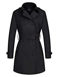 Wantdo Women's Double-Breasted Trench Coat with Belt