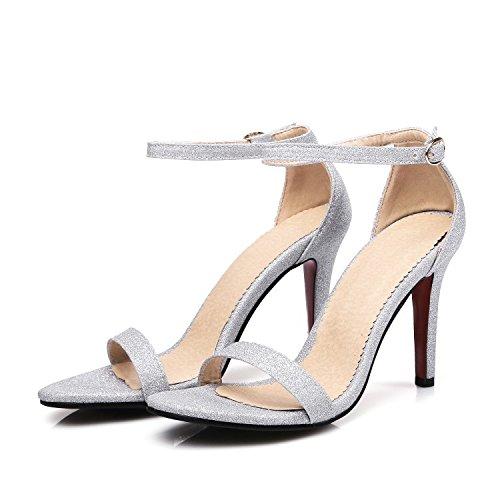 CSDM grandi formati piccoli stilo a forma di tacco alto tacchi alti sandali sabbia scarpe da sposa primavera e estate scarpe singole , silver , 41 custom 2-4 days do not return