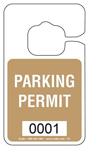 Parking Permit Hang Tag - R-1 - Stock Hang Tag (Gold) ()