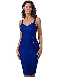 e6a9d84003e Women s Strap V Neck Tie Waist Knee Length Bodycon Pencil Bandage Club Dress