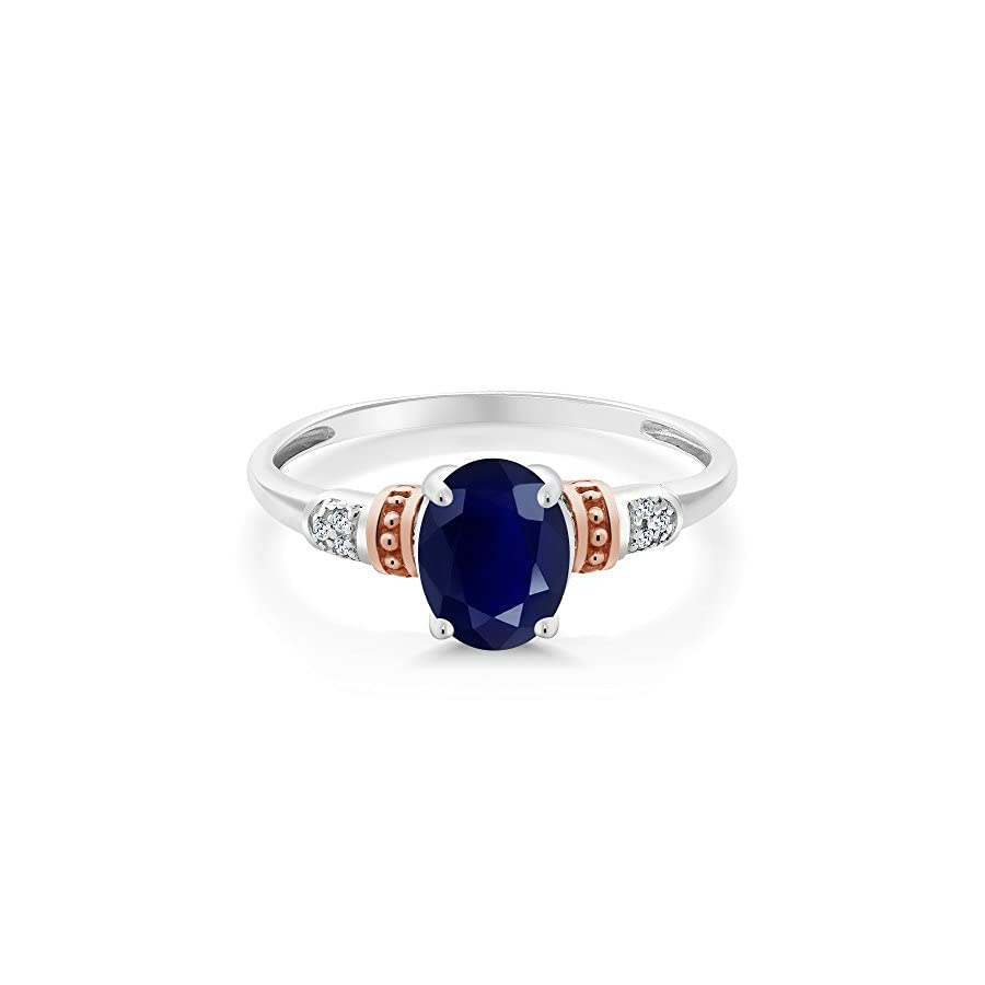 925 Sterling Silver and 10K Rose Gold Ring Blue Sapphire with Diamond Accent 1.79 cttw (Available 5,6,7,8,9)