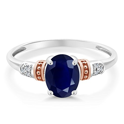 Diamond Ring Accent Blue (925 Sterling Silver and 10K Rose Gold Ring Blue Sapphire with Diamond Accent (1.79 cttw, Available in size 5,6,7,8,9))