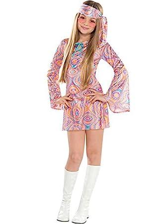 Disco Diva Teen Girls 1970s Fancy Dress 70s Childrens Costume Hippy