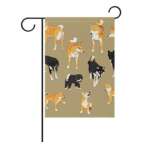 Vantaso House Flag Decorative Shiba Inu Dog Polyester Double Sided Printing Fade Proof for Outdoor Courtyards 28×40 inch Review