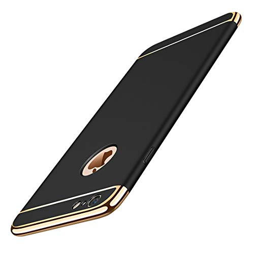 iPhone 6/6S Slim Case Anti-Scratch 360 Degree Protection 3 In 1 Hard Mobile Phone Ultra With Electroplate Frame For Full Protective For iPhone 6S Plus 6 Plus (iPhone 6/6S 4.7, Black)