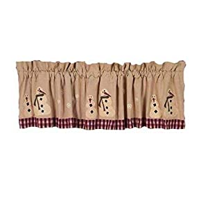 Home collection by Raghu Winter Wonderland Barn Red/Nutmeg Valance, 72″ x 15.5″