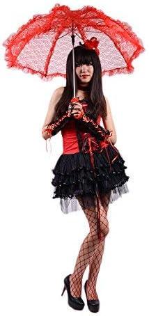 Rouge Grand Black Sugar Parapluie Ombrelle Dentelle Et Rubans Motif Fleurs C/ér/émonie Mariage Parasol Gothique Lolita D/éguisement Cosplay Convention