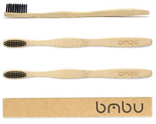 Bamboo Toothbrush 3 Pack - Made with Bamboo Charcoal Infused Bristles - Sustainably Grown in Recycled Biodegradable Packaging