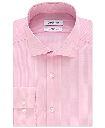 Calvin Klein Men's Big & Tall Striped Dress Shirt (Rose, 20
