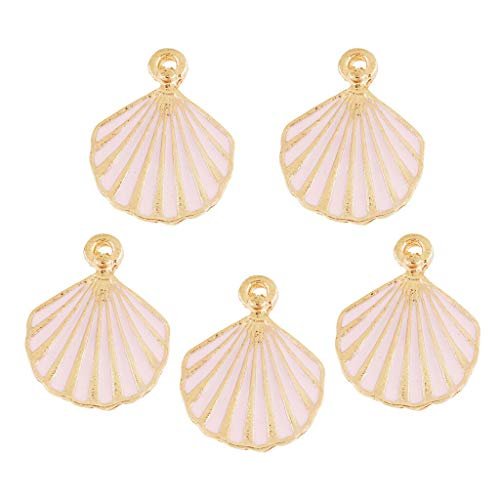 NATFUR 5 PCS/Lot Shell Shaped Alloy Pendant Jewelry DIY for Women Bracelet Necklace Elegant Pretty Novelty Cute Holder Perfect for Girls for Gift | Color - Pink