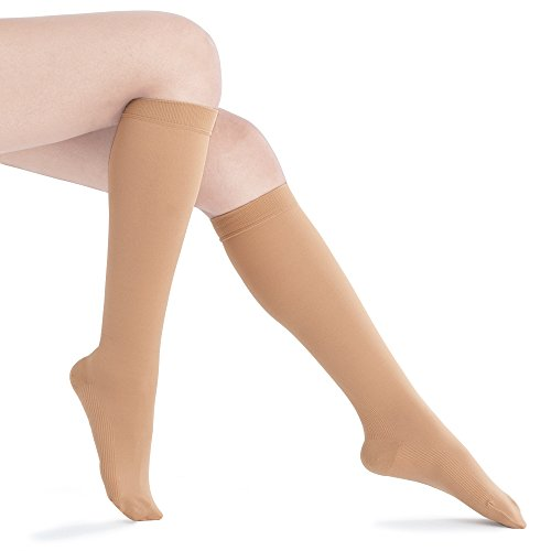 Recovery Hose (Fytto 1020 Women's Compression Socks, Opaque 15-20mmHg – Knee High Circulatory Hosiery for Travel, Varicose Veins and Swelling Leg, Nude, Medium)