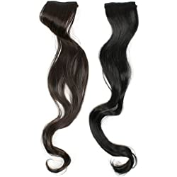 Uxcell 2 Piece Headdress Long Curl Wave DIY Lady Ponytail Wig, Black, 20 Inch, 0.12 Pound