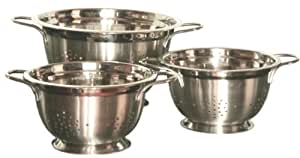 Gourmet Chef Professional 5-Quart Heavy Duty Stainless Steel German Colander with Wire Handles
