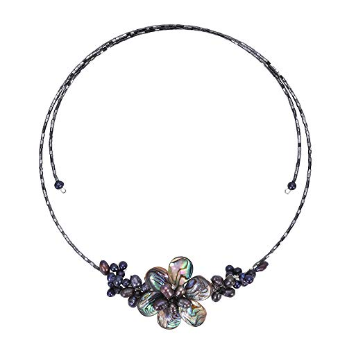 (AeraVida Gradual Flower Cultured Freshwater Black Pearls and Mother of Pearl Cluster Choker Wrap Handmade Necklace )