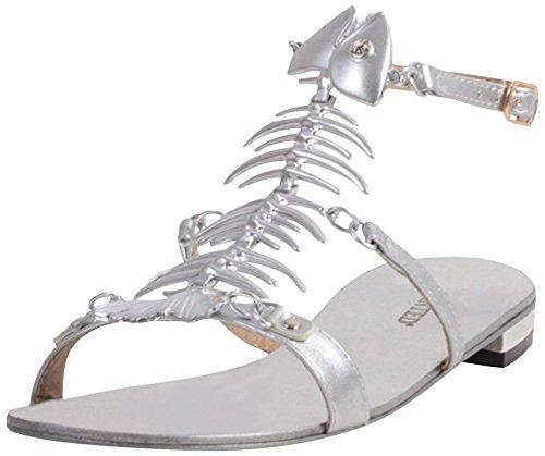 Volevo / Volevo Moda / Stile Desiderato Bonefish Sandalo Con Fibbia Piatta Argento