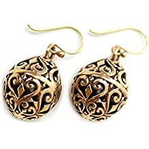 Bronze Charm Filigree Golden, Faberge Egg, Easter Egg , Russian Eggs, Dangle Earrings Thailand Jewelry