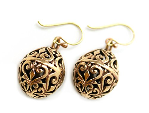 LynnAround Bronze Charm Filigree Golden, Faberge Egg, Easter Egg, Russian Eggs, Dangle Earrings Thailand Jewelry