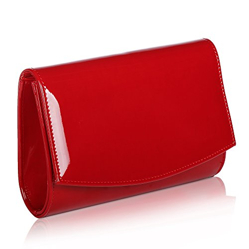 Women Patent Leather Wallets Fashion Clutch Purses,WALLYN'S Evening Bag Handbag Solid Color (Red) Red Leather Purse Handbag