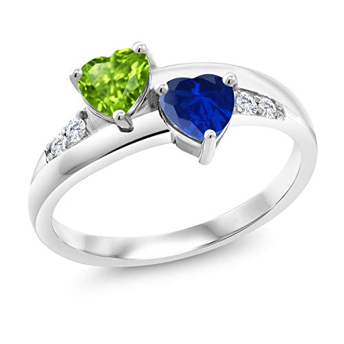 Gem Stone King 1.19 Ct Heart Shape Green Peridot Blue Simulated Sapphire 925 Silver Lab Grown Diamond Ring (Size 7)