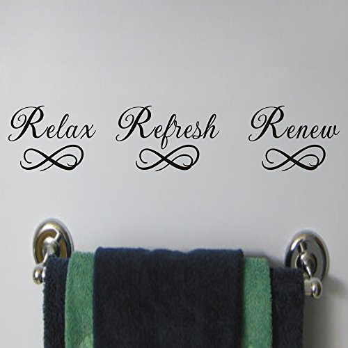 MoharWall Relax Refresh Renew Quote Sink Wall Decal Bathroom Vinyl Lettering Art Spa Sticker Decor by MoharWall
