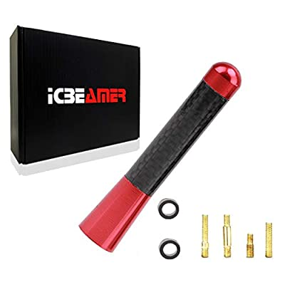 "ICBEAMER 3"" 76 mm Aluminum Red w/Carbon Fiber Universal AM/FM Radio Antenna Screw-in Stubby Aerial Replacement: Automotive"