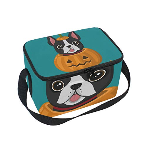 Lunch Bag Halloween Pumpkin Happy French Bulldog Cooler for Picnic Shoulder Strap Lunchbox -
